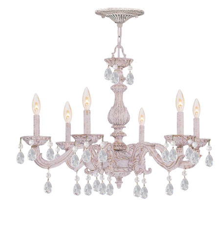 Crystorama 5036-AW-CL-S Paris Market 6 Light Chandelier in Antique White