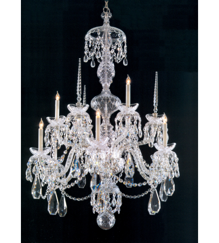 Crystorama 5070-CH-CL-MWP Traditional Crystal 9 Light Chandelier in Chrome