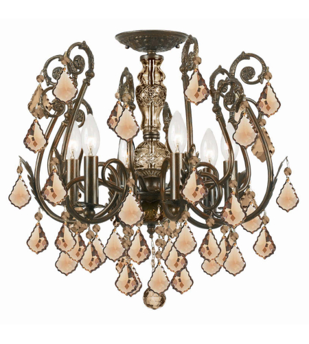 Crystorama 5115-EB-GTS Regis 6 Light Semi-Flush Mount in English Bronze