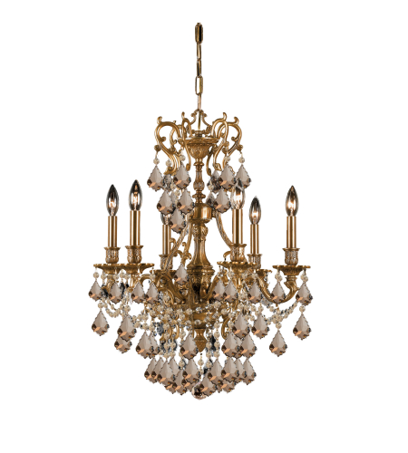Crystorama 5146-AG-GT-MWP Yorkshire 6 Light Chandelier in Aged Brass