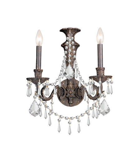 Crystorama 5162-Eb-Cl-Mwp Vanderbilt 2 Light Sconce In English Bronze
