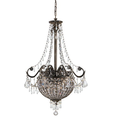Crystorama 5164-Eb-Cl-Mwp Vanderbilt 6 Light Pendant In English Bronze