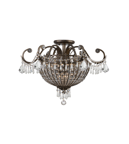 Crystorama 5165-Eb-Cl-Mwp Vanderbilt 6 Light Ceiling Mount In English Bronze