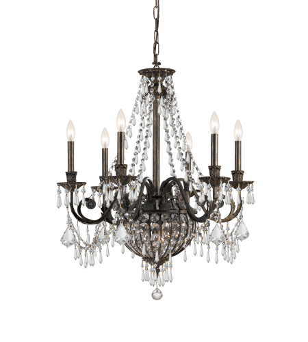 Crystorama 5166-Eb-Cl-Mwp Vanderbilt 6 Light Chandelier In English Bronze
