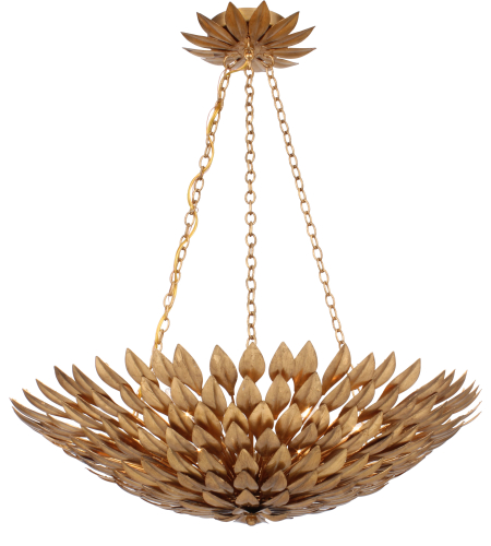 Crystorama 517-GA Broche 6 Light Chandelier in Antique Gold