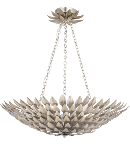 Crystorama 517-SA Broche 6 Light Chandelier in Antique Silver