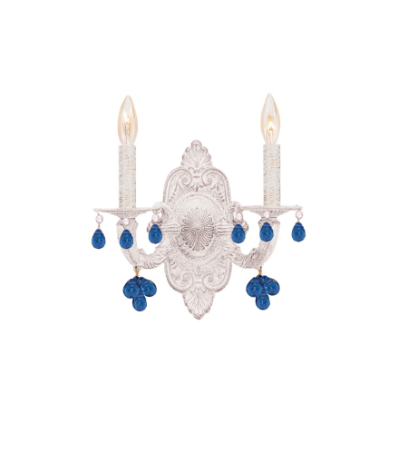 Crystorama 5200-AW-BLUE Sutton 2 Light Wall Sconce in Antique White