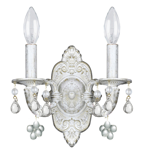 Crystorama 5200-AW-CLEAR Sutton 2 Light Wall Sconce in Antique White
