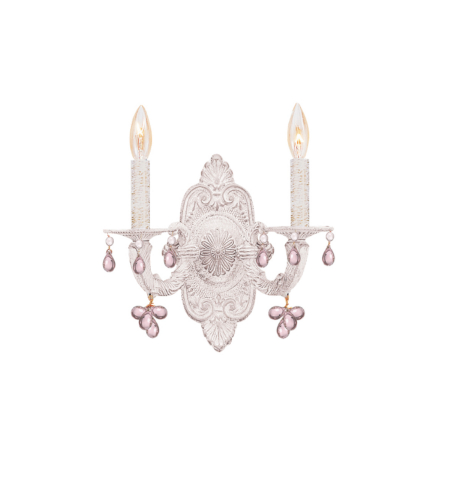 Crystorama 5200-AW-ROSA Sutton 2 Light Wall Sconce in Antique White