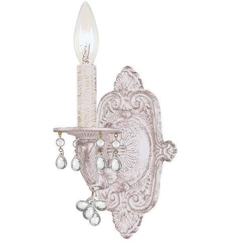 Crystorama 5201-AW-CLEAR Sutton Wall Sconce in Antique White