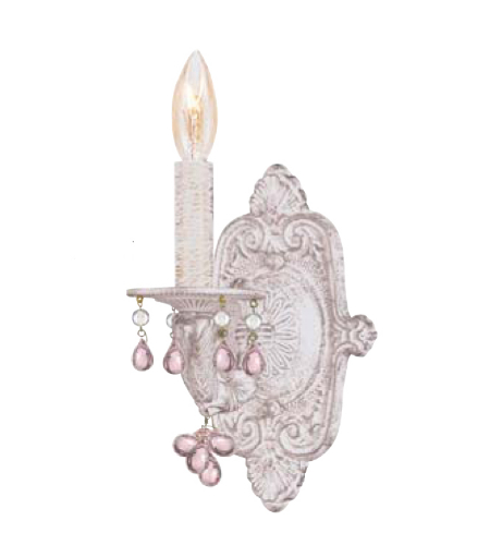 Crystorama 5201-AW-ROSA Sutton 1 Light Wall Sconce in Antique White