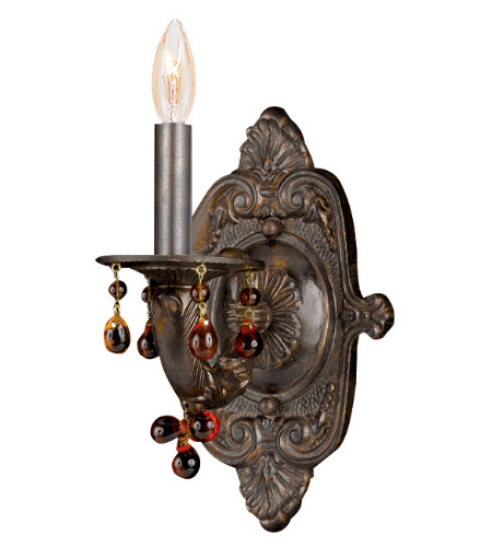 Crystorama 5201-VB-AMBER Sutton 1 Light Wall Sconce in Venetian Bronze