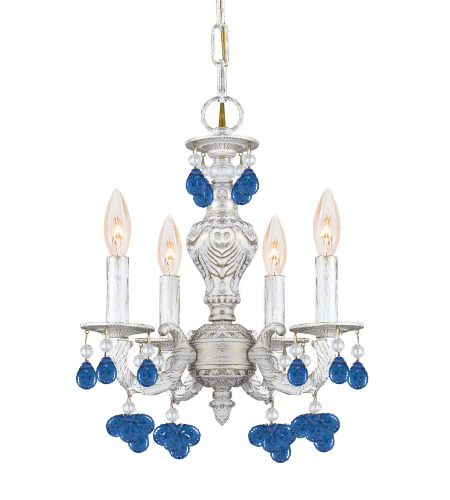 Crystorama 5224-AW-BLUE Sutton 4 Light Mini Chandelier in Antique White