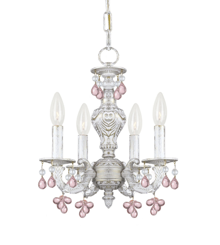 Crystorama 5224-AW-ROSA Sutton 4 Light Mini Chandelier in Antique White