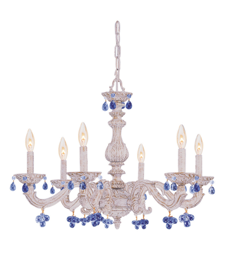 Crystorama 5226-AW-BLUE Sutton 6 Light Chandelier in Antique White