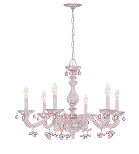 Crystorama 5226-AW-ROSA Sutton 6 Light Chandelier in Antique White