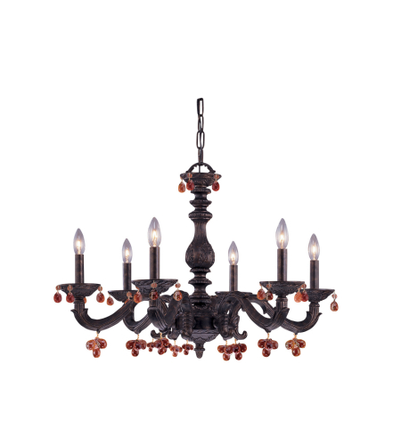 Crystorama 5226-VB-AMBER Sutton 6 Light Chandelier in Venetian Bronze