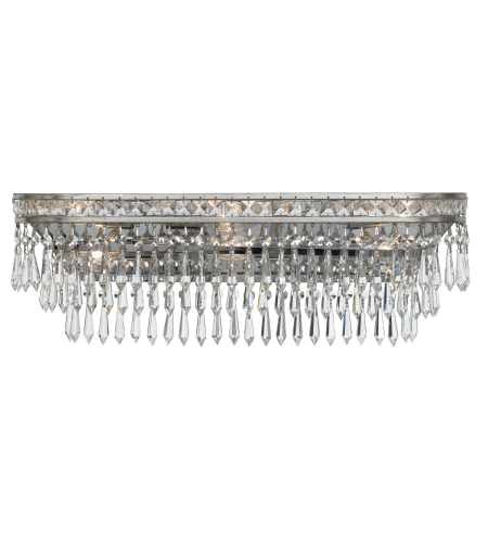 Crystorama 5265-OS-CL-MWP Mercer 6 Light Bathroom-Vanity Light in Olde Silver