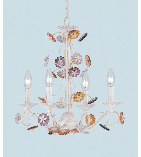 Crystorama 5414-AW Retro 4 Light Mini Chandeliers in Antique White