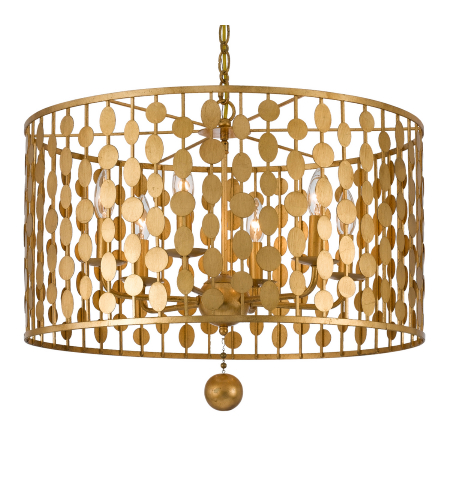 Crystorama 546-GA Layla 6 Light Chandelier in Antique Gold