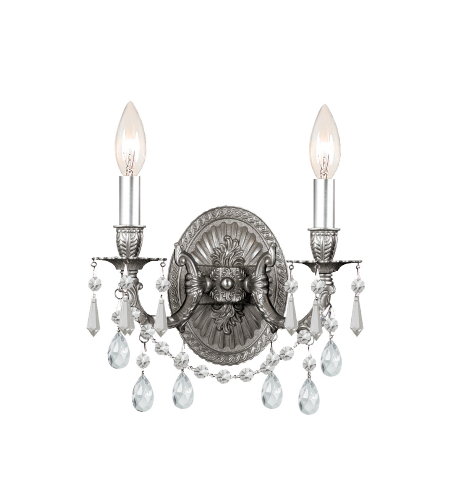 Crystorama 5522-PW-CL-MWP Gramercy 2 Light Sconce in Pewter