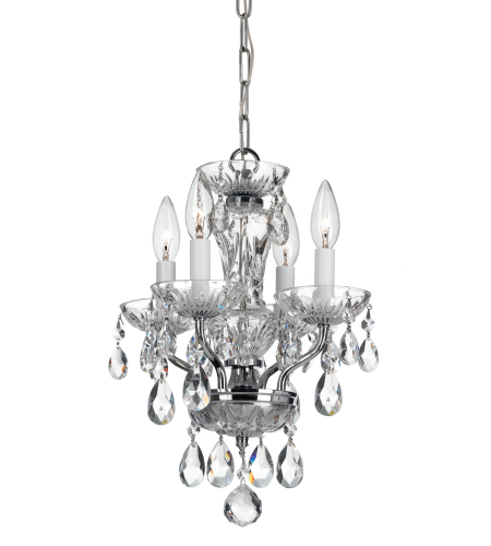 Crystorama 5534-CH-CL-I Traditional Crystal 4 Light Mini Chandeliers in Chrome