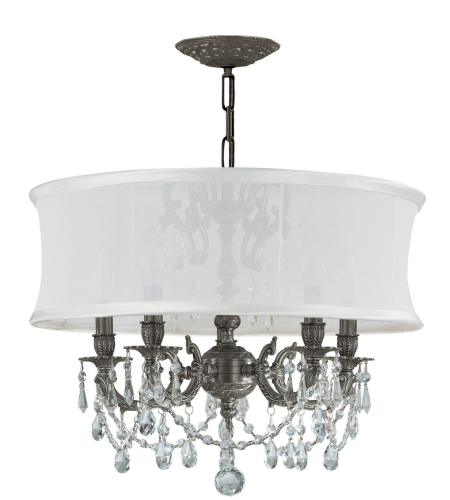 Crystorama 5535-PW-SMW-CLQ Gramercy 5 Light Chandelier in Pewter