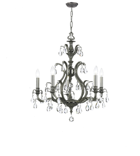 Crystorama 5565-PW-CL-S Dawson 5 Light Chandelier in Pewter