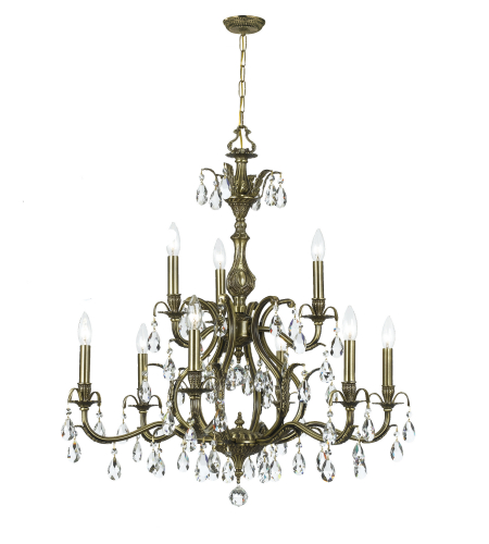 Crystorama 5569-AB-CL-S Dawson 9 Light Chandelier in Antique Brass