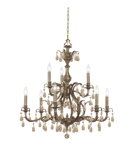 Crystorama 5569-AB-GTS Dawson 9 Light Chandelier in Antique Brass
