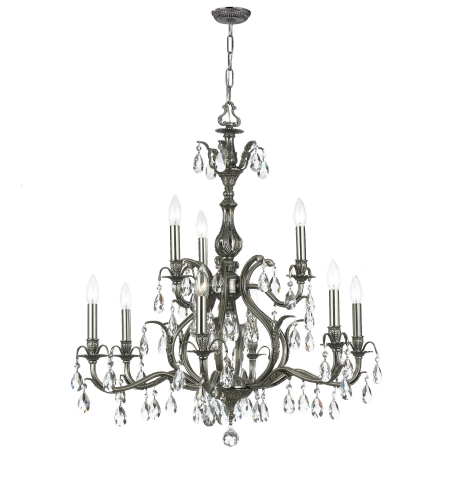 Crystorama 5569-PW-CL-MWP Dawson 9 Light Chandelier in Pewter