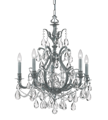 Crystorama 5575-PW-CL-SAQ Dawson 5 Light Chandelier in Pewter