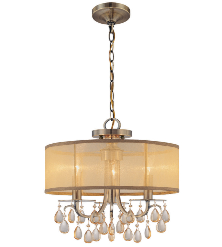 Crystorama 5623-AB Hampton 3 Light Mini Chandeliers in Antique Brass