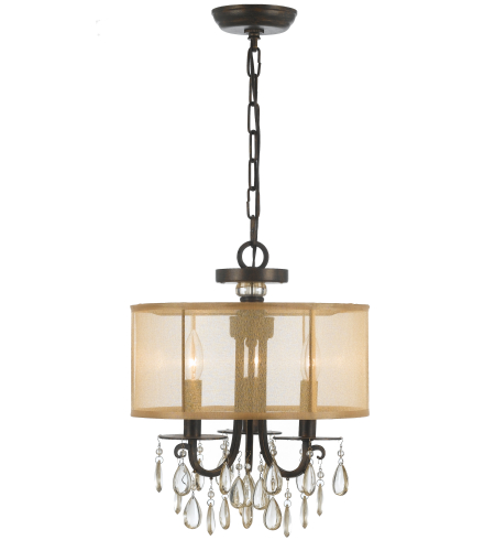 Crystorama 5623-EB Hampton 3 Light Mini Chandeliers in English Bronze