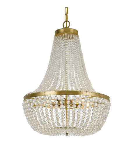 Crystorama 608-Ga Rylee 6 Light Chandelier In Antique Gold