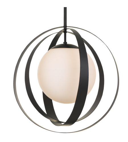 Crystorama 6469-Mk Arlo 1 Light Chandelier In Matte Black