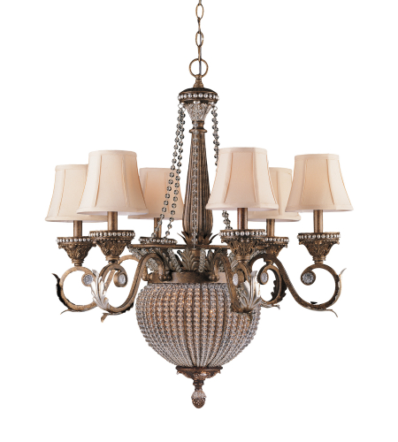 Crystorama 6726-Wp Roosevelt 8 Light Chandelier In Weathered Patina
