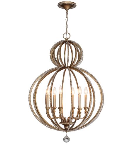 Crystorama 6766-DT Garland 6 Light Chandelier in Distressed Twilight