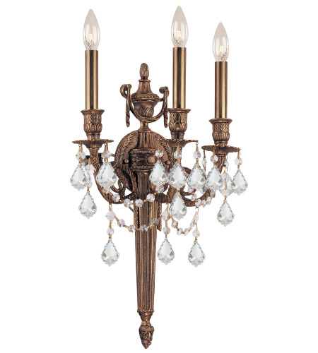 Crystorama 753-MB-CL-SAQ Cast Brass Wall Mount 3 Light Sconce in Matte Brass