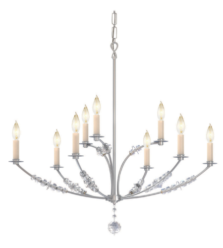 Crystorama 8009-PN Mirage 9 Light Chandelier in Polished Nickel