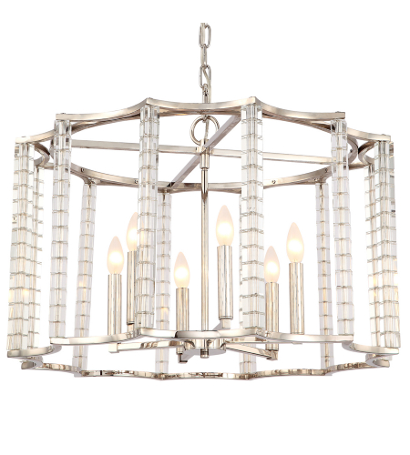 Crystorama 8856-PN Carson 6 Light Chandelier in Polished Nickel