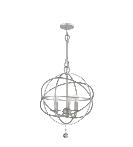 Crystorama 9225-OS Solaris 3 Light Mini Chandeliers in Olde Silver