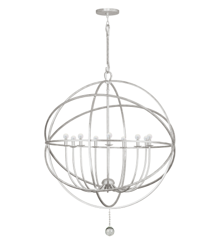 Crystorama 9229-OS Solaris 9 Light Chandelier in Olde Silver