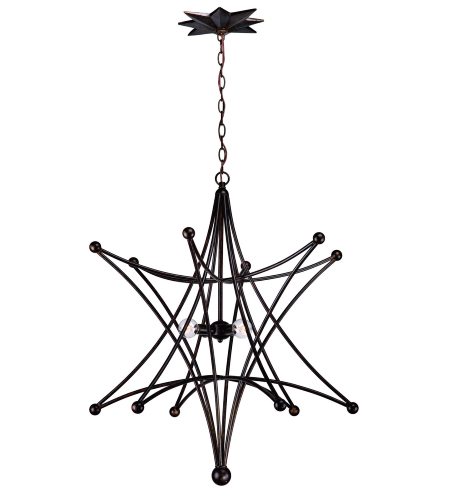 Crystorama 9236-EB Astro 4 Light Chandelier in English Bronze