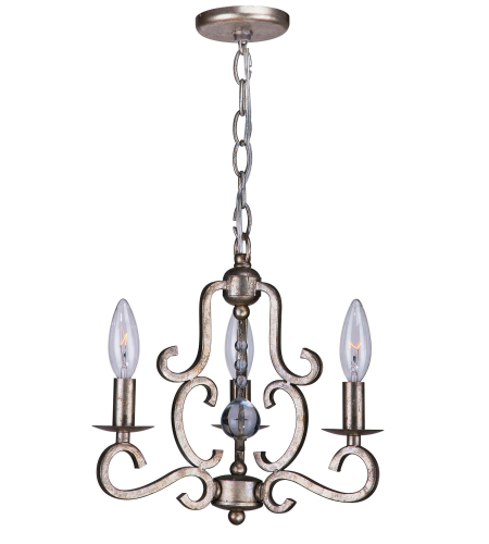Crystorama 9347-OS Orleans 3 Light Mini Chandeliers in Olde Silver
