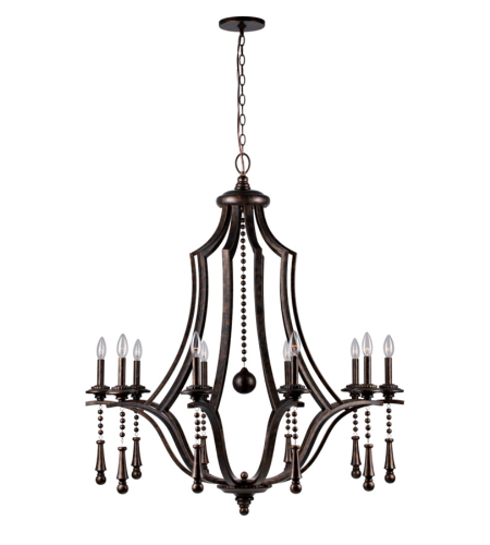 Crystorama 9359-EB Parson 10 Light Chandelier in English Bronze