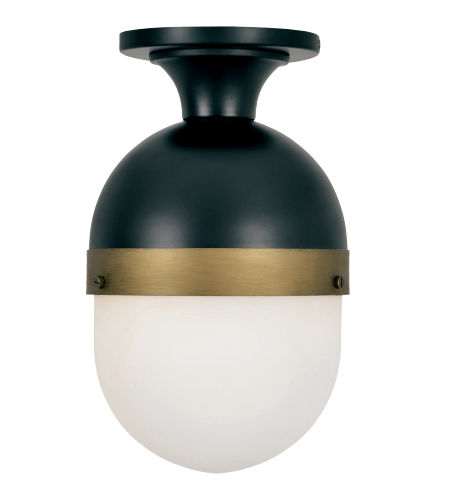 Crystorama Cap-8500-Mk-Tg Capsule 1 Light Outdoor Ceiling Mount In Matte Black + Textured Gold