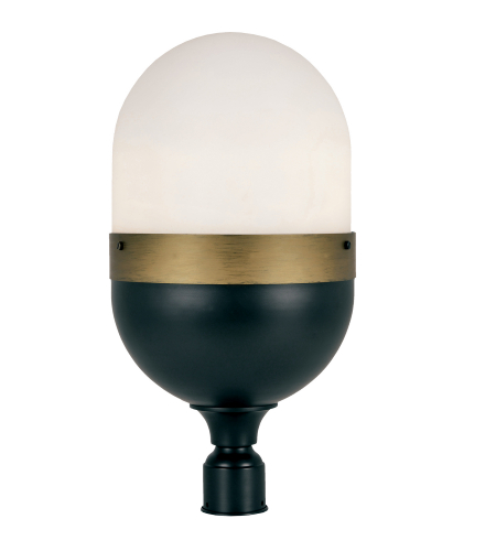 Crystorama Cap-8509-Mk-Tg Capsule 3 Light Outdoor Lantern Post In Matte Black + Textured Gold