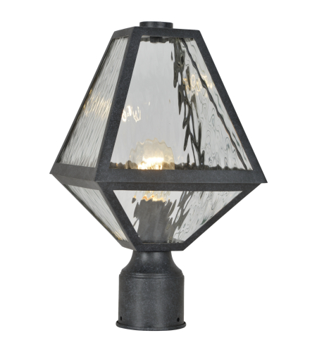 Crystorama Gla-9707-Wt-Bc Glacier 1 Light Outdoor Lantern Post In Black Charcoal