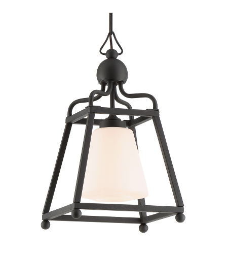 Crystorama Syl-2280-Op-Bf Sylvan 1 Light Outdoor Pendant In Black Forged